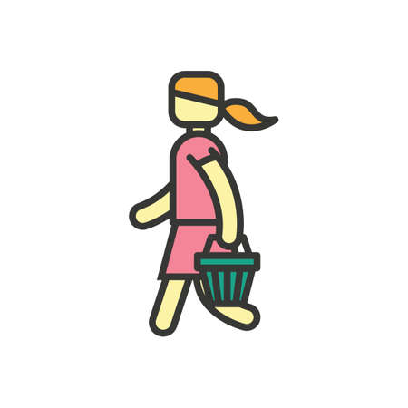 woman side view: Woman holding basket Illustration