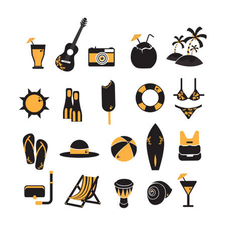 life saver: Set of beach icons Illustration