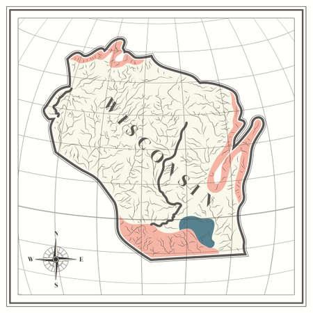 wisconsin: Map of wisconsin state Illustration