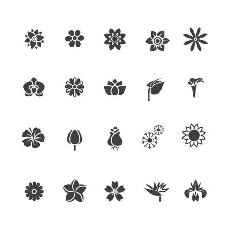 with sets of elements: Set of floral icons