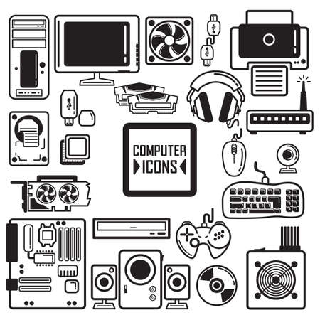 coolant: Collection of computer components and peripherals Illustration
