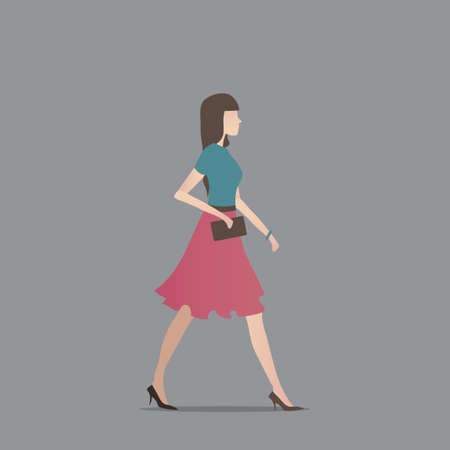 woman side view: Fashionable woman holding clutch Illustration