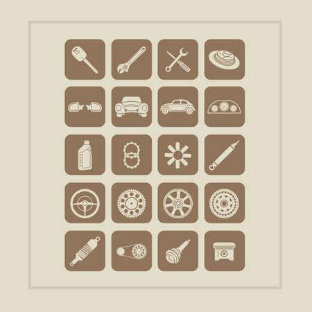 Conjunto de piezas de automóviles iconos Foto de archivo - 43300054