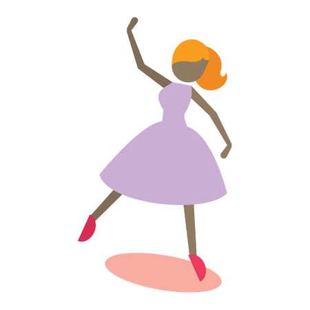 dance pose: Girl striking dance pose Illustration