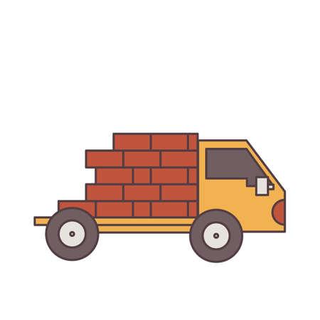 four wheeler: Truck with bricks Illustration