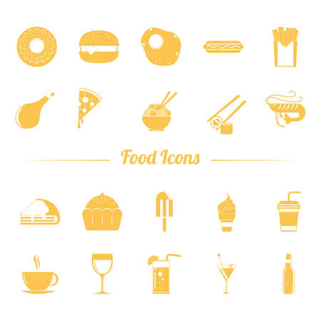 shrimp cocktail: Set of food icons