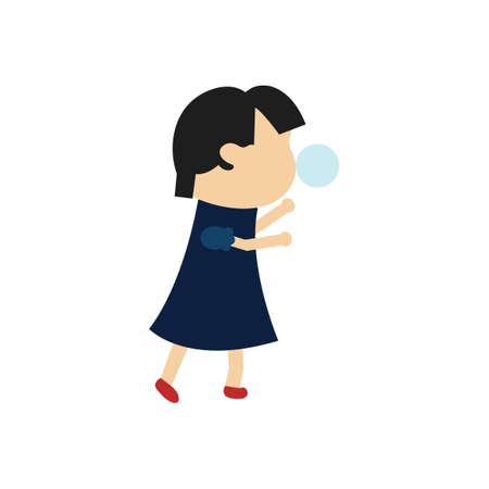 goma de mascar: Chica soplando chicle