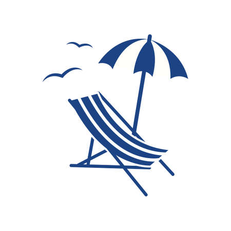 Beach parasol and lounge chair Stock Illustratie