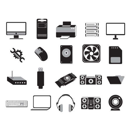 computer icons: Set of computer icons Illustration