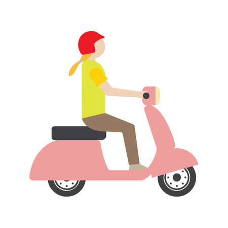 woman side view: Woman riding scooter