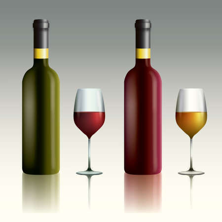wine bottles: Wine bottles and glasses Illustration