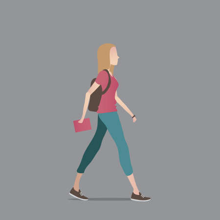 woman side view: Woman with backpack Illustration
