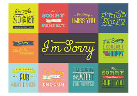 apology: Set of sorry quotes Illustration