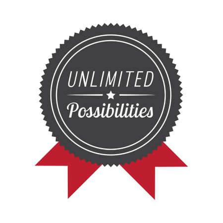 unlimited: Unlimited possibilities label Illustration