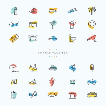 dog shark: Summer vacation icon set Illustration