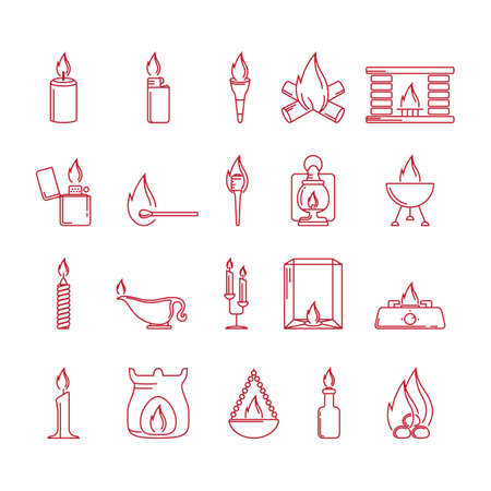 fireplace lighter: Fire related icons Illustration