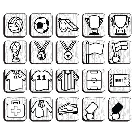 penalty card: Set of soccer icons Illustration