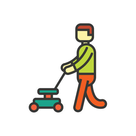 lawn mower: Man with lawn mower