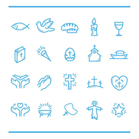 Catholic religion icons Stock Illustratie