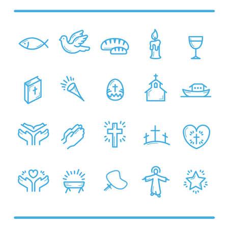 Catholic religion icons Illustration