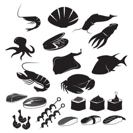 魚介類のアイコンのセット