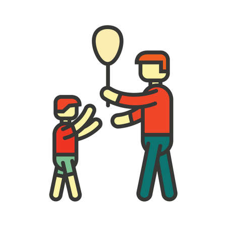 man side view: Father and son playing with balloon