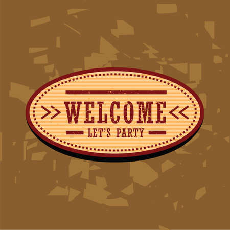 lets party: Welcome label Illustration