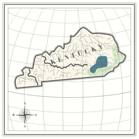 kentucky: Map of kentucky state Illustration
