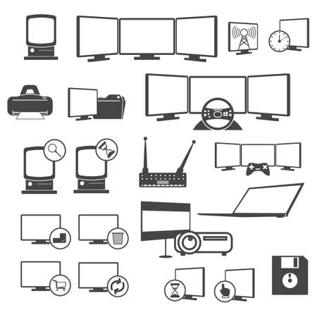 rubbish cart: Set of computer icons Illustration