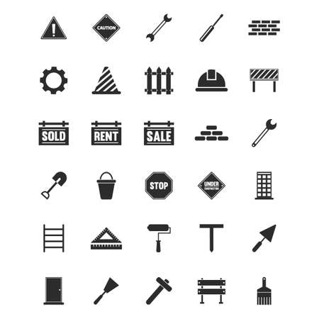 ladder  fence: Set of construction icons Illustration