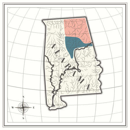 alabama state: Map of alabama state
