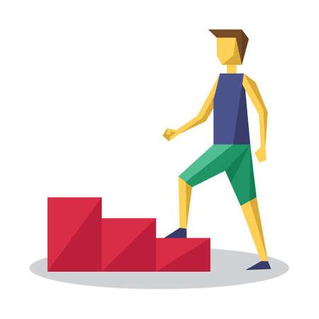 climbing stairs: Man climbing stairs Illustration