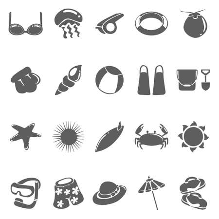 short trip: Set of beach icons Illustration