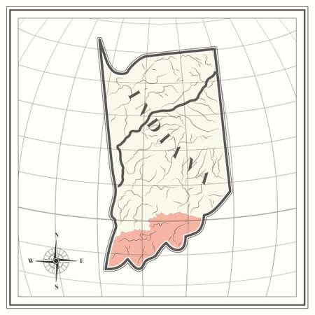 indiana: Map of indiana state Illustration