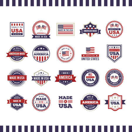 Made in USA labels collection Иллюстрация