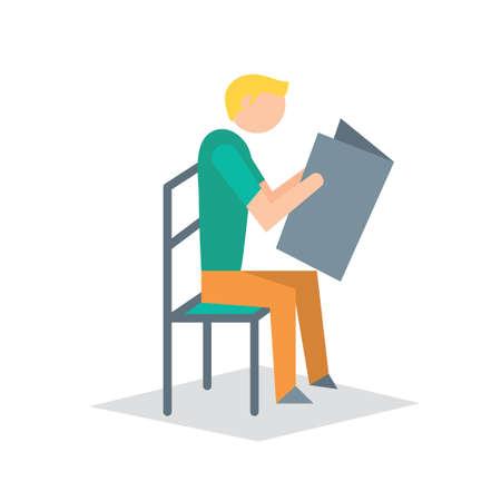 man side view: Man reading newspaper Illustration