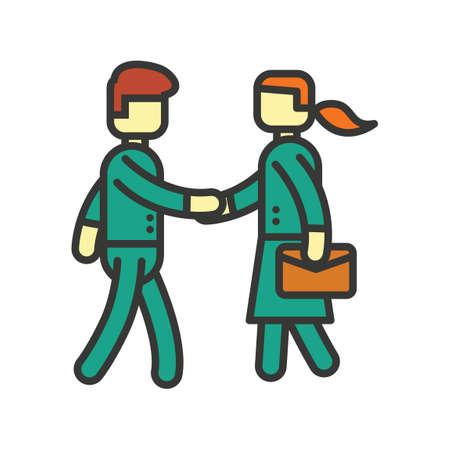 dandose la mano: El hombre y la mujer darle la mano  Vectores