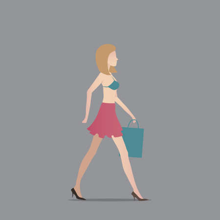 woman side view: Fashionable woman with shopping bag