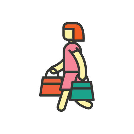 woman side view: Woman with shopping bags