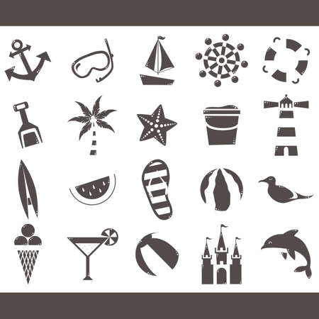 snorkelling: Collection of beach icons