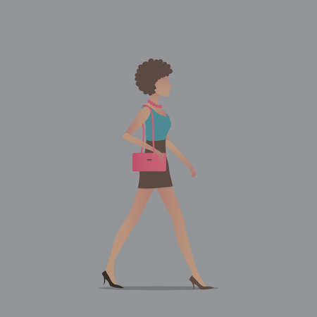 woman side view: Fashionable woman with handbag