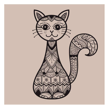 lineas decorativas: Dise�o del gato Zentangle Vectores