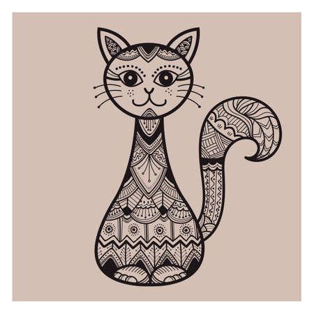 Zentangle 猫デザイン  イラスト・ベクター素材