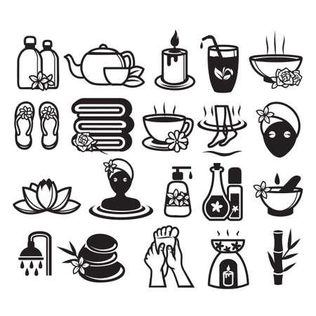 tea towel: Set of spa icons