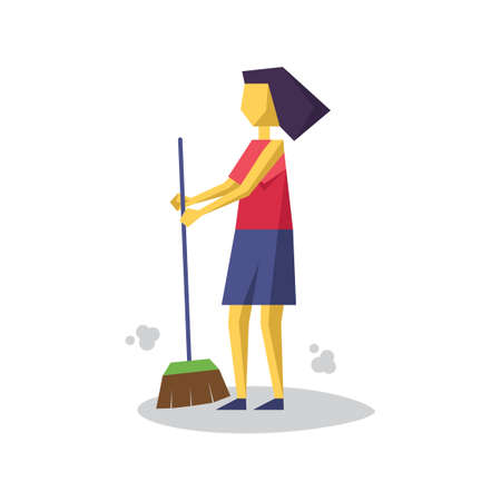 broomstick: Girl with broomstick Illustration