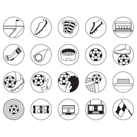knee sock: Set of soccer icons Illustration