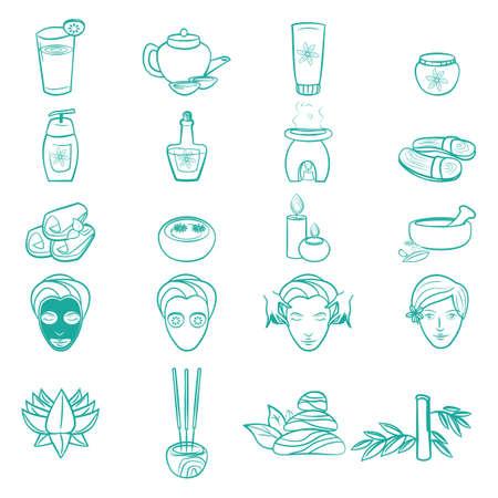 glowing skin: Set of spa icons