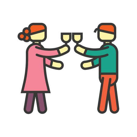 celebrating: Man and woman celebrating Illustration