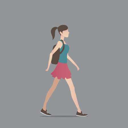 woman side view: Fashionable woman with backpack
