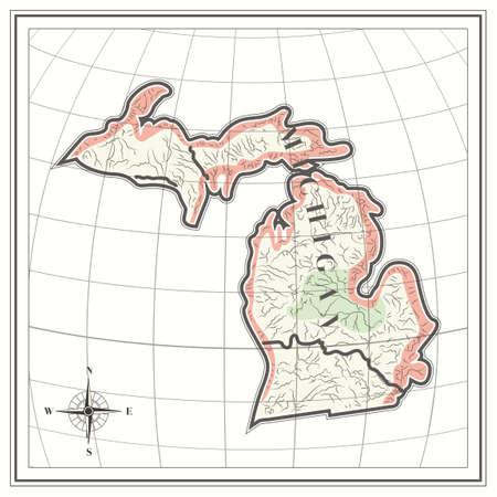 michigan state: Map of michigan state Illustration